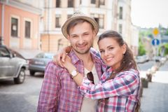 Young couple in city Stock Image