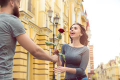 Young couple city walk date romantic gift Stock Photography