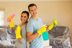 Young couple cleaning Stock Photo