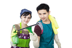 Young couple cleaning copyspace - isolated Stock Photography