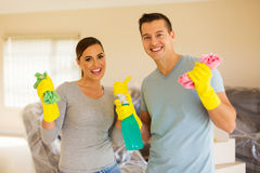 Young couple cleaning Royalty Free Stock Photo