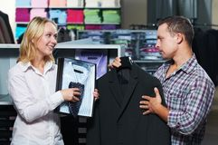 Young couple at clothes shopping Stock Image