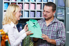 Young couple at clothes shopping Stock Photo