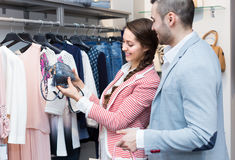 Young couple in clothing store Stock Photo
