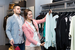 Young couple in clothing store Royalty Free Stock Image
