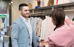 Young couple in clothing store Royalty Free Stock Images