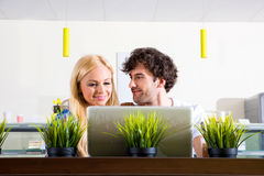 Young couple in a coffee shop Stock Photo