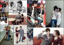 Young couple collage Royalty Free Stock Images