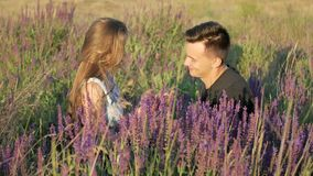 Young couple in the colors of the spring field stock video footage