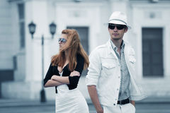 Young fashion couple in conflict Royalty Free Stock Photos