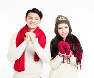 Young couple with congratulation gesture. Asian young couple with congratulation gesture Stock Photography