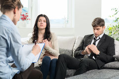 Young couple consults at the psychologist Royalty Free Stock Images