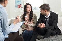 Young couple consults at the psychologist Stock Images