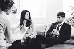 Young couple consults at the psychologist Stock Photo