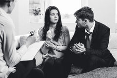 Young couple consults at the psychologist Royalty Free Stock Photo