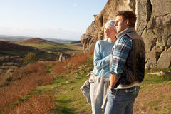 Young couple on country walk Royalty Free Stock Photography