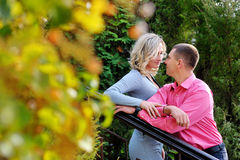 Young couple in the countryside in autumn Royalty Free Stock Photo