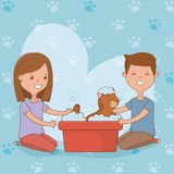Young couple with cute cat mascot. Vector illustration design royalty free illustration