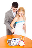 Young couple cutting wedding cake Royalty Free Stock Photo