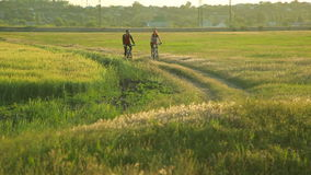 Young couple cycling together in countryside. Man and woman with bicycles riding on trail stock video