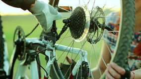 Young couple cycling together in countryside stock footage