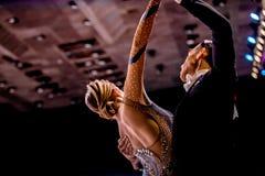 Young couple dance sports ballroom dancing. Chelyabinsk, Russia -  April 9, 2017: young couple dance sports ballroom dancing Governor Cup in dance sport Stock Photography