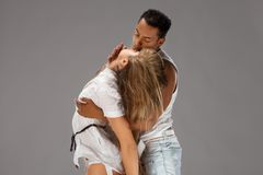 Young couple dances Caribbean Salsa Stock Photography