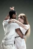 Young couple dances Salsa. Vintage photo. Stock Photography