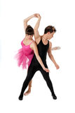 Young couple dancing ballet isolated stock photography