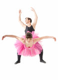 Young couple dancing ballet isolated on white Royalty Free Stock Photos