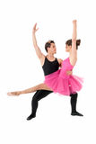 Young couple dancing ballet isolated on white Royalty Free Stock Photo