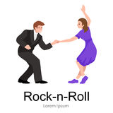 Young couple dancing lindy hop or swing in a formation, man and woman Rock and Roll dancing Royalty Free Stock Image