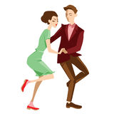 Young couple dancing lindy hop. Vector illustration Stock Photos
