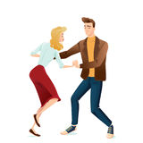 Young couple dancing lindy hop Royalty Free Stock Image