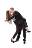 Young couple dancing office workers Stock Photo