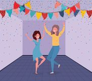 Young couple dancing in the room stock illustration