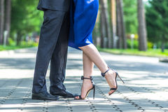 Young couple dancing at the street stock photography