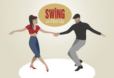 Young Couple dancing swing. Handsome man and pin-up girl dancing swing Stock Images