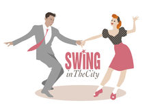 Young couple dancing swing or lindy hop. Handsome man and pin-up girl dancing swing Stock Photography