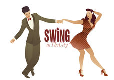 Young couple dancing swing, lindy hop or rock and roll Royalty Free Stock Photos
