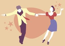 Young couple dancing swing, rock or lindy hop Royalty Free Stock Photos