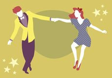 Young couple dancing swing, rock or lindy hop Stock Photos