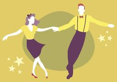 Young couple dancing swing, rock or lindy hop Royalty Free Stock Photo