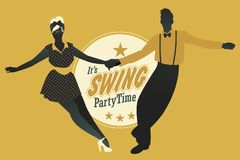 Young couple dancing swing, rock or lindy hop Royalty Free Stock Images