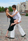 Young couple dancing tango Stock Photo