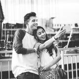 Young Couple Date Amusement Park Concept Royalty Free Stock Photos