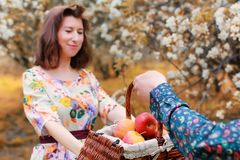 Young couple on date in autumn park Stock Photo