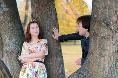 Young couple on date in autumn park Stock Photography