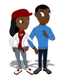 Young couple on a date cartoon Stock Photos