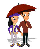 Young couple on a date cartoon Royalty Free Stock Image